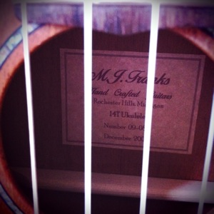 M J Franks Tenor Ukulele Inside Sticker