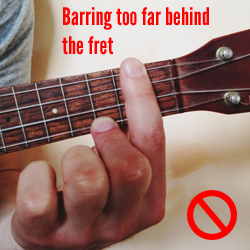 Barring too far behind the fret