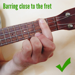 Barring close to the fret